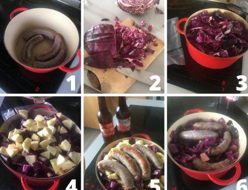 Recette : Confit de Chou rouge à la Bière, saucisse de porc